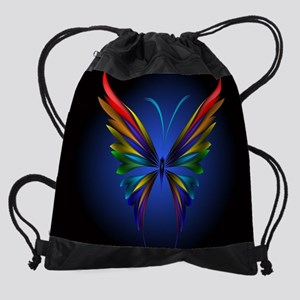 Abstract Butterfly Drawstring Bag