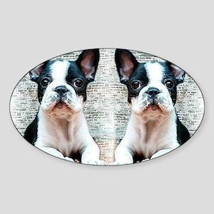 flip flops french bulldog Sticker (Oval)