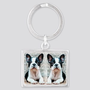 flip flops french bulldog Landscape Keychain