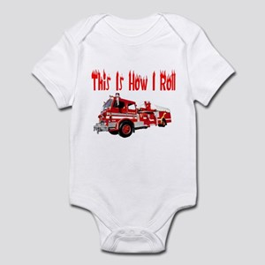 How I Roll- Fire Truck Infant Bodysuit