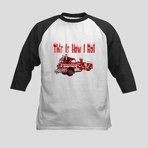 How I Roll- Fire Truck Kids Baseball Jersey