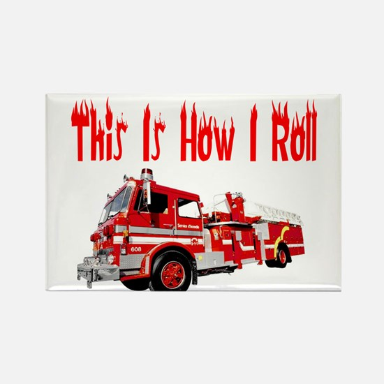 How I Roll- Fire Truck Rectangle Magnet