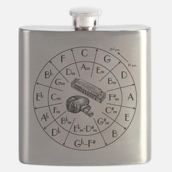 Circle of Fifths TSHIRT harpmic WHITESHIRT Flask
