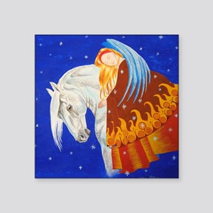 "Horse and Angel Square Sticker 3"" x 3"""