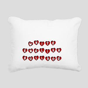 WHITE ENGLISH BULLDOG Rectangular Canvas Pillow