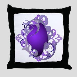 Urban Fantasy Purple Dragon Throw Pillow