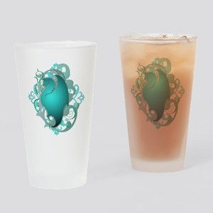 Urban Fantasy Teal Dragon Drinking Glass