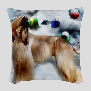 afghan hound christmas square Woven Throw Pillow
