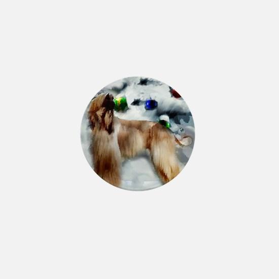afghan hound christmas square Mini Button