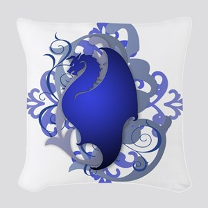 Urban Fantasy Blue Dragon Woven Throw Pillow