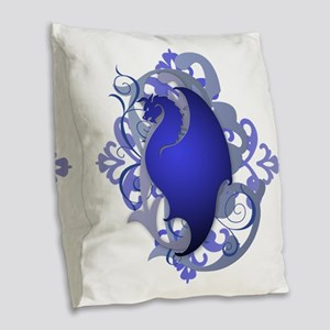 Urban Fantasy Blue Dragon Burlap Throw Pillow