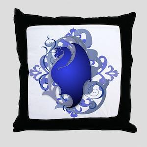 Urban Fantasy Blue Dragon Throw Pillow