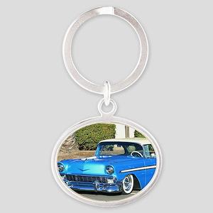 blue classic car Oval Keychain