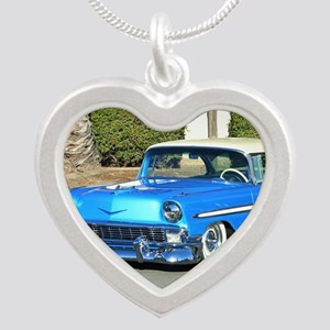 blue classic car Silver Heart Necklace