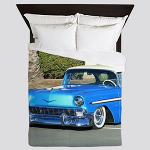blue classic car Queen Duvet