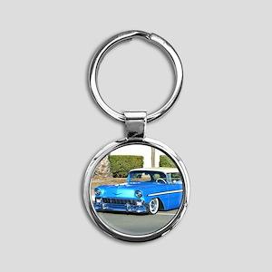 blue classic car Round Keychain