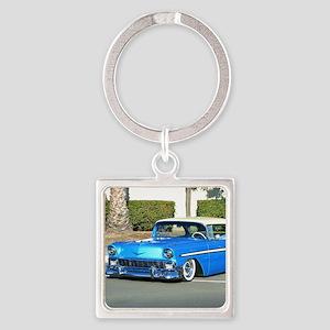 blue classic car Square Keychain