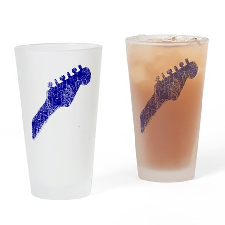 guitar headstock blue2 Drinking Glass