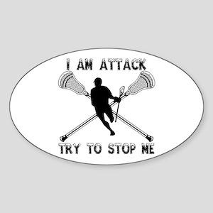 Lacrosse Attackman Sticker (Oval)