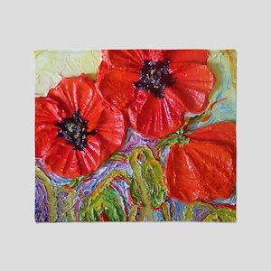 paris red poppies Throw Blanket