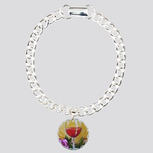 Wine  Rose Charm Bracelet, One Charm