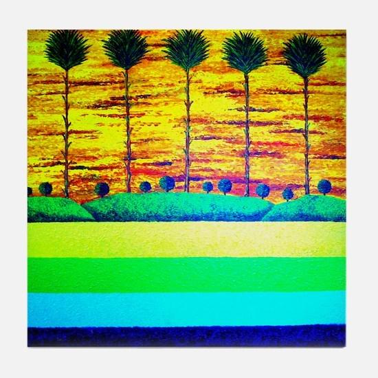 Palm Sunset Tile Coaster