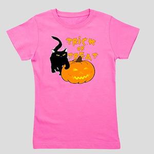 Trick or Treat Pumpkin N Black cat Girl's Tee