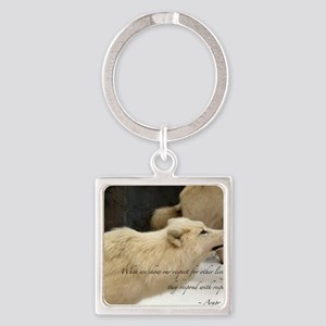 Native American Proverb-wolf Square Keychain