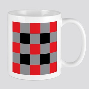 Black and Red and Silver Square Mugs