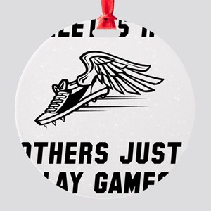 Athletes Run Black Round Ornament