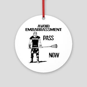 Lacrosse Defense Pass Ornament (Round)