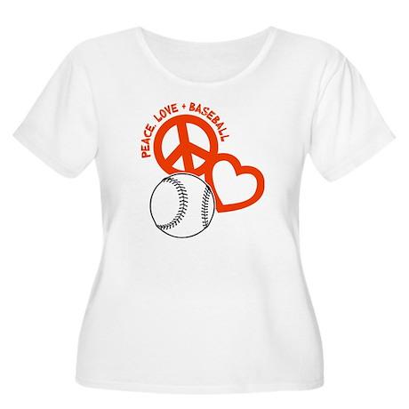 P,L,Baseball, Women's Plus Size Scoop Neck T-Shirt