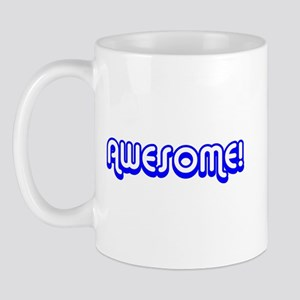Blue Awesome 80's Text Mug