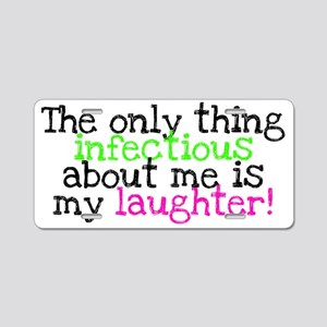 Infectious Laughter green/p Aluminum License Plate