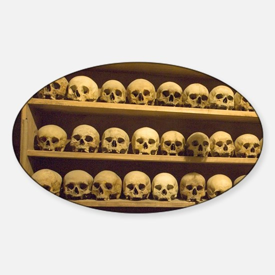 Meteora. Skulls of monastics on she Sticker (Oval)