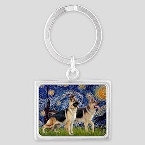 Starry Night - Two German Sheph Landscape Keychain