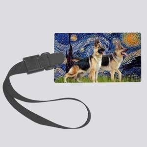 Starry Night - Two German Shephe Large Luggage Tag
