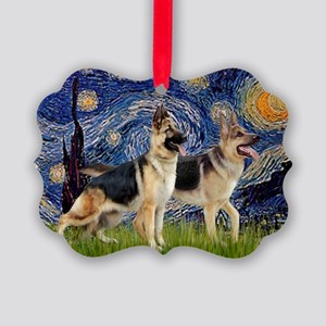 Starry Night - Two German Shepher Picture Ornament