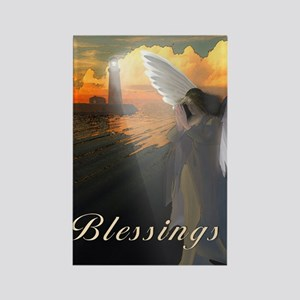 Lighthouse With Praying Angel Rectangle Magnet