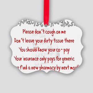 pharmacist thoughts picture ornament - Pharmacy Christmas Ornaments