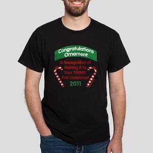 1sttwinsxmasOrnaGrn2011 Dark T-Shirt