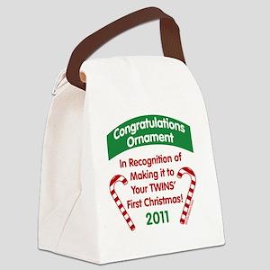 1sttwinsxmasOrnaGrn2011 Canvas Lunch Bag