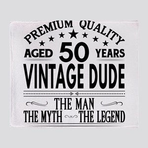 VINTAGE DUDE AGED 50 YEARS Throw Blanket