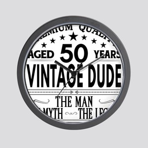 VINTAGE DUDE AGED 50 YEARS Wall Clock