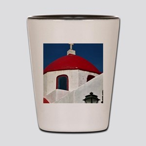 Red-domed church, Mykonos, Greece Shot Glass