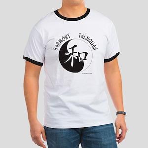 Harmony Taijiquan White Tee Shirt Ringer T