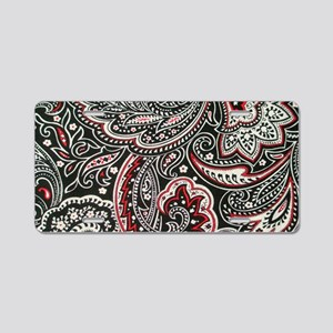 Toiletry Black Paisley Aluminum License Plate