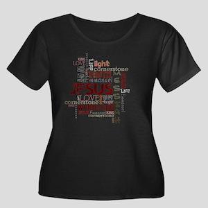 jesuswor Women's Plus Size Dark Scoop Neck T-Shirt