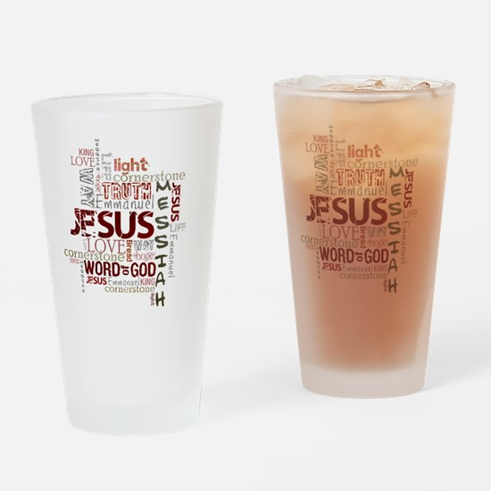 jesuswordcloud3 Drinking Glass