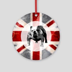 616 Union Jack Bulldog Montage for  Round Ornament